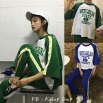 [Preorder] ชุดเซ็ตเสื้อยืด + กางเกงขายาวลายทาง มีสีเขียว,น้ำเงิน