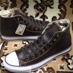 รองเท้าผ้าใบ Converse หนังหุ้มข้อ สีน้ำตาล ไซส์ 37-44