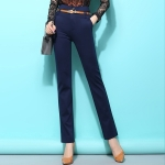 Pre-Order กางเกงขายาวผู้หญิงทำงานผ้ายืด เอวสูง ขาตรงกระบอกเล็ก ผ้าฝ้ายผสมสแปนเด็กซ์ กางเกงแฟชั่นเกาหลี สีกรมท่า