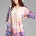 (Pre-Order) เดรสผ้าชีฟอง แขนยาว มีซับใน ลายดอกกุหลายโทนสีขาวม่วง แฟชั่นสไตล์เกาหลี ปี 2015