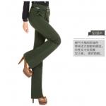Pre-Order ลด 63% กางเกงแฟชั่นผู้หญิง ขาม้า ผ้ายืดเข้ารูปสีเขียวขี้ม้า
