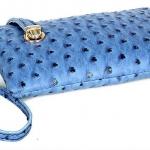 กระเป๋าคลัทช์ กระเป๋าแฟชั่นสไตล์เกาหลี-ญี่ปุ่น พื้นสีฟ้า ลายหมุดดำ