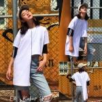 [Preorder] เสื้อสไตล์เกาหลีสีขาวต่อผ้าชายไม่เท่ากัน