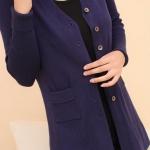 (Pre-Order) เสื้อไหมพรมถักจากผ้าขนสัตว์แคชเมียร์ แฟชั่นเสื้อสไตล์เกาหลี สีม่วง