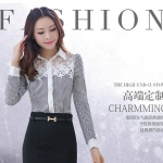 Pre-order เสื้อเชิ้ตชีฟองแขนยาวลายทางขาวดำ ประดับลูกไม้ที่หน้าดอก เสื้อทำงานแขนยาว แฟชั่นสไตล์เกาหลีปี 2015