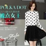 (Pre-Order) เสื้อผ้าแฟชั่นเกาหลีปี 2014 เสื้อเชิ้ตแขนยาว เสื้อเชิ้ตทำงาน เสื้อผ้าทำงาน กระดุมหน้า ผ้าชีฟองสีขาวจุดดำ
