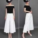 Pre-Order กางเกงขากว้าง กางเกงกระโปรง กางเกงกระโปรงลำลอง ผ้าโพลีเอสเตอร์ผสม สีขาว