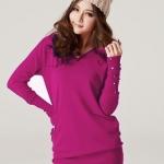 (Pre-Order) เสื้อไหมพรม เสื้อสเวตเตอร์ ถักจากผ้าฝ้ายโพลีเอสเตอร์ไลก้า แฟชั่นเสื้อสไตล์เกาหลี สีกุหลาบแดง