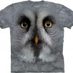 Pre.เสื้อยืดพิมพ์ลาย3D The Mountain T-shirt : Great Grey Owl Face