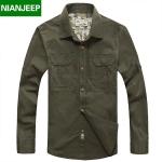 Pre-order เสื้อเชิ๊ตแขนยาว แฟชั่นสไตล์อเมริกันคลาสสิก หนุ่มมาดเท่ สีเขียวเข้ม NIAN Jeep