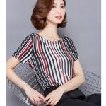 Pre-order เสื้อผ้าชีฟอง คอปาด แขนสั้นแค่ศอก พิมพ์ลายทางสีดำแดง