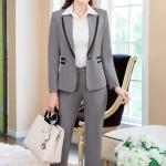 Pre-Order เสื้อสูททำงาน เสื้อสูทผู้หญิง สูทลำลอง สูทคอวีมีปก แขนยาว แฟชั่นชุดทำงานสไตล์เกาหลี สีเทา