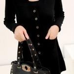 (Pre-Order) เสื้อไหมพรมถักจากผ้าขนสัตว์แคชเมียร์ แฟชั่นเสื้อสไตล์เกาหลี สีดำ