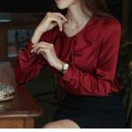 Pre-Order เสื้อชีฟอง คอกลม แขนยาว สีไวน์แดง เสื้อผ้าแฟชั่นสไตล์เรโทร วินเทจ