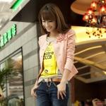 พรีออเดอร์ เสื้อสูทแฟชั่นสไตล์เกาหลี เสื้อสูทวัยรุ่น สูทสั้น สีชมพู