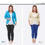 Pre-Order เสื้อสูทแฟชั่นผู้หญิงทำงาน สำหรับสาวอวบมาก เสื้อสูทแขนยาว มีปก ติดกระดุมเม็ดเดียว สีฟ้าและสีเบจ