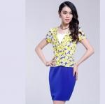 Pre-Order ชุดเดรสทำงาน ชุดกระโปรงสั้น ผ้าโพลีเอสเตอร์ผสม สีฟ้า แขนสั้น แฟชั่นเกาหลี บิ๊กไซส์