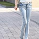 Pre-Order กางเกงยีนส์ประดับเพชร กางเกงยีนส์ขายาว ฟองสี ประดับเพชร แฟชั่นเกาหลีมาใหม่ ปี 2014