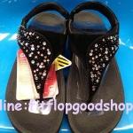 รองเท้า Fitflob Limited รุ่นเพชรกระจายใบไม้ หูหนีบ สีดำ   No.FF638