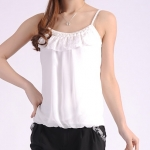 Pre-Order เสื้อสายเดี่ยว เสื้อชั้นใน ผ้าชีฟอง สีขาว ประดับลูกไม้ ติดมุกที่คอ เสื้อลำลอง แฟชั่นฤดูร้อนปี 2014