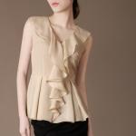 (Pre-Order) เสื้อชีฟองแขนกุด เสื้อผ้าโพลีเอสเตอร์แขนกุด สีเบจ แฟชั่นเสื้อสไตล์เกาหลีปี 2014