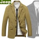 Pre-Order เสื้อสูทผู้ชาย แขนยาวผ้าฝ้ายผสม ติดกระดุมสองเม็ด แฟชั่นสูทสไตล์ยุโรปอเมริกา สีกากี Nian Jeep