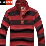 Pre-order เสื้อยืดคอปกแขนยาว เสื้อกันหนาว แฟชั่นสไตล์อเมริกันคลาสสิก สีแดง-ดำ NIAN Jeep