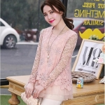 Pre-order เสื้อผ้าลูกไม้ แขนยาว ตกแต่งลูกไม้และฉลุผ้าชีฟอง เสื้อลูกไม้ลำลองแบบหรูหรา สีชมพู แฟชั่นสไตล์เกาหลีปี 2015