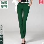 Pre-Order กางทำงานผู้หญิง กางเกงลำลอง กางเกงสแล็ค ขาตรง สีเขียวเข้ม