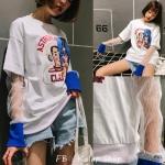 [Preorder] เสื้อยืดสไตล์เกาหลีตรงแขนยาวเป็นลูกไม้ให้ดูเหมือนใส่2ชั้น