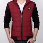 Pre-Order เสื้อแจ็คเก็ตผู้ชายสีทูโทน เสื้อแจ็คเก็ตธุรกิจผู้ชาย เสื้อแจ็คเก็ตผู้ชายสไตล์ลำลอง ผ้าฝ้ายผสมหนัง สีเเดง