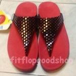 รองเท้า Fitflob New หูหนีบ ลายตาราง สีแดง No.FF389