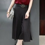 Pre-Order กางเกงขากว้าง กางเกงกระโปรงทำงาน กางเกงกระโปรงลำลอง ผ้าชีฟอง สีพื้น สีดำ