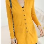 (Pre-Order) เสื้อไหมพรมถักจากผ้าขนสัตว์แคชเมียร์ แฟชั่นเสื้อสไตล์เกาหลี สีเหลือง