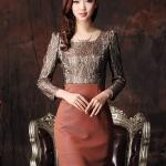 Pre-Order ชุดเดรสทำงาน ชุดกระโปรงสั้น งานพรีเมี่ยม ผ้าโพลีเอสเตอร์ผสม สีทอง แขนยาว แฟชั่นเกาหลี