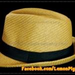 หมวกสาน ทรงไมเคิล สีน้ำตาลอ่อนขอบเรียบ แถบดำ ฮิตๆ !!!