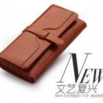 Pre-order กระเป๋าสตางค์หนังแท้ผู้หญิง กระเป๋าสตางค์แบบยาว สีน้ำตาล แฟชั่นเกาหลี