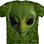 Pre.เสื้อยืดพิมพ์ลาย3D The Mountain T-shirt : Green Alien Face