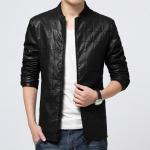 Pre-Order เสื้อแจ็คเก็ตหนังปั้มลายตาราง สีดำ