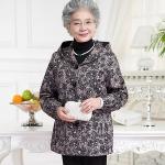 (Pre-order) เสื้อกันหนาวผู้สูงอายุ เสื้อกันหนาวผู้หญิง แฟชั่นเสื้อกันหนาว ผ้าพิมพ์ลายดอกพลัมสีดำ