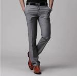 (Pre-Order) กางเกงทำงานผู้ชาย กางเกงขายาว กางเกงธุรกิจ ผ้าโพลีเอสเตอร์ สีเทา แฟชั่นกางเกงทำงานใหม่ แบบเรียบ ไม่จับจีบ สำเนา