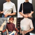 [Preorder] เสื้อคอเต่าแขนสั้นสีเรียบสไตล์เกาหลี มีสีขาว/ดำ/น้ำตาล/แอปริคอต