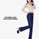 Pre-Order กางเกงยีนส์ขายาว ขาม้า เอวสูง สีน้ำเงินเข้ม ยีนส์ยืด แฟชั่นเกาหลี ไซส์ใหญ่ สะโพก 33-48 นิ้ว