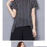 Pre-order เสื้อผ้าชีฟอง คอปาด แขนสั้นแค่ศอก พิมพ์ลายทางสีดำ