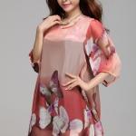 (Pre-Order) เดรสผ้าชีฟอง แขนยาว มีซับใน ลายผีเสื้อสีน้ำตาล-แดง งานน่ารักมาก อารมณ์หวาน ๆ แฟชั่นสไตล์เกาหลี