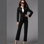 Pre-order ชุดสูทผู้หญิงกางเกงขายาว เสื้อแขนยาว สูทบาง ฝีมือตัดเย็บระดับ High -end เสื้อผ้าแฟชั่นสไตล์เกาหลี สีดำ