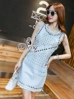 พร้อมส่ง ~ Sevy Matel Hallow Light Blue Mini Denim Dress