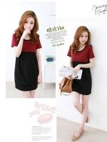 ชุดเดรสแฟชั่นเกาหลีสีทูโทนแดงดำ ผ้าคอตตอนยืด