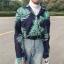 [Preorder] เสื้อเชิร์ตแขนยาวลายใบไม้ ใส่เป็นเสื้อคลุมได้ มีสีเขียว/แดง thumbnail 12