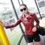 พร้อมส่ง เสื้อแจ็คเก็ตหนังผู้หญิง สีแดง แต่งซิปหน้าและกระเป๋า ปกสูท แขนยาว แฟชั่นเสื้อกันหนาวสไตล์เกาหลี thumbnail 1